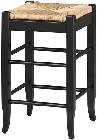 "Boraam 24"" Square Rush Stool - Black 94924 - BarstoolDirect.com"