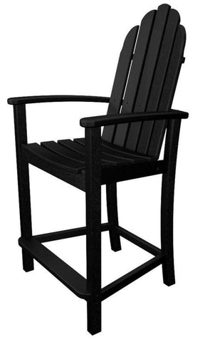Polywood ADD201BL Classic Adirondack Counter Chair in Black - PolyFurnitureStore