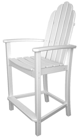 Polywood ADD201WH Classic Adirondack Counter Chair in White - PolyFurnitureStore