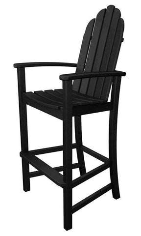 Polywood ADD202BL Classic Adirondack Bar Chair in Black - PolyFurnitureStore