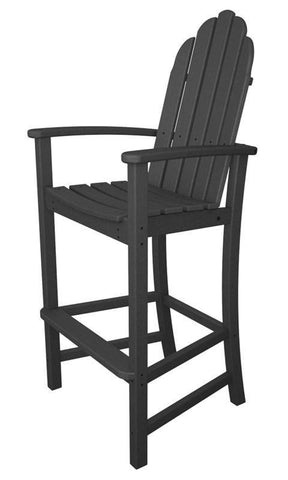 Polywood ADD202GY Classic Adirondack Bar Chair in Slate Grey - PolyFurnitureStore
