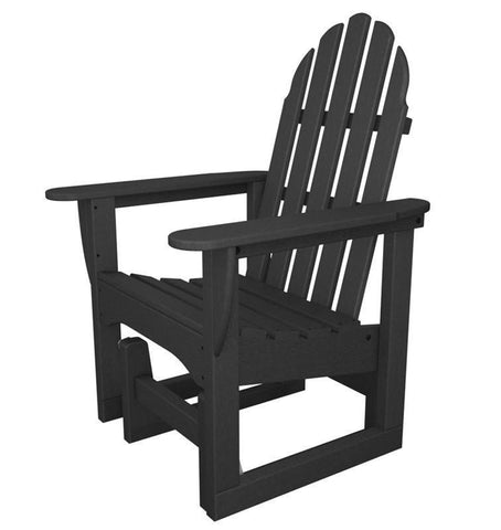 Polywood ADSGL-1GY Classic Adirondack Glider Chair in Slate Grey - PolyFurnitureStore