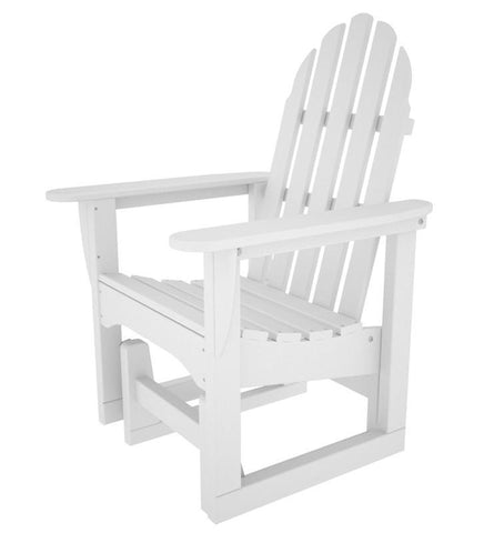 Polywood ADSGL-1WH Classic Adirondack Glider Chair in White - PolyFurnitureStore