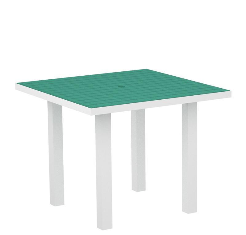 Square Dining Table Textured White Aluminum Frame Aruba Euro 2938 Product Photo