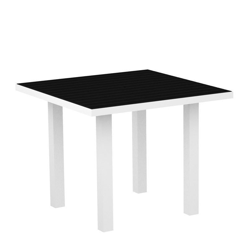 Square Dining Table Textured White Aluminum Frame Black Euro 2938 Product Photo