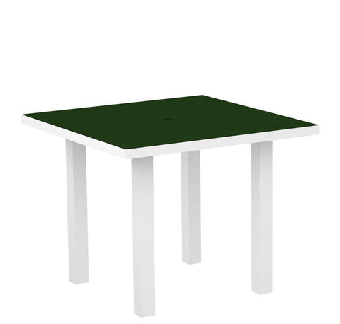 "Polywood AT36-13GR Euro 36"" Square Dining Table in Textured White Aluminum Frame / Green - PolyFurnitureStore"