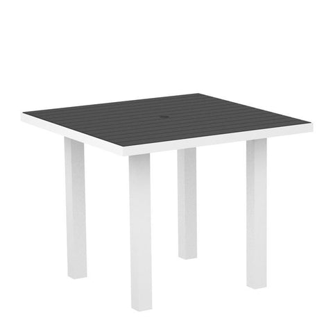 "Polywood AT36-13GY Euro 36"" Square Dining Table in Textured White Aluminum Frame / Slate Grey - PolyFurnitureStore"