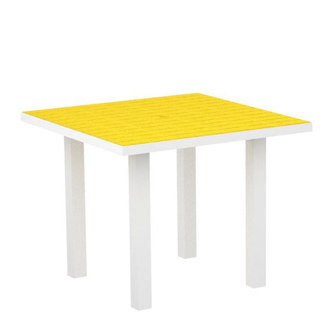 "Polywood AT36-13LE Euro 36"" Square Dining Table in Textured White Aluminum Frame / Lemon - PolyFurnitureStore"