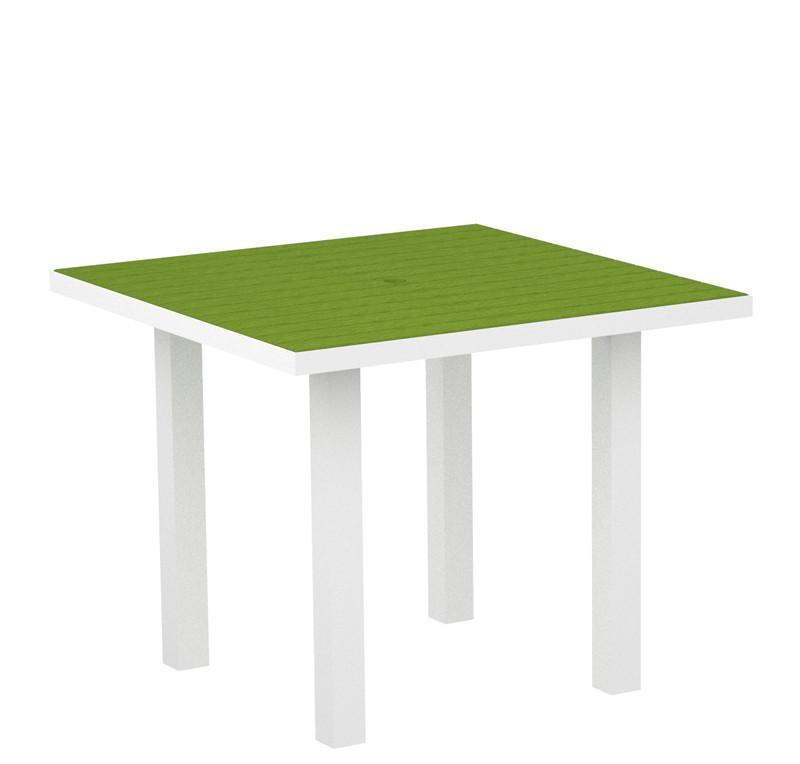 Square Dining Table Textured White Aluminum Frame Lime Euro 2940 Product Photo