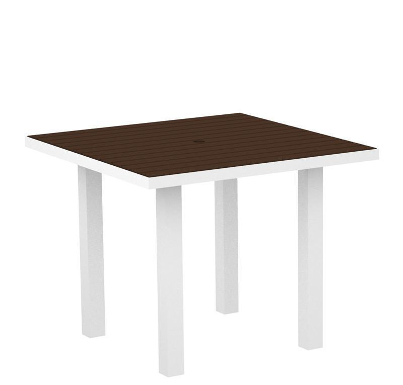 Square Dining Table Textured White Aluminum Frame Mahogany Euro 2943 Product Photo