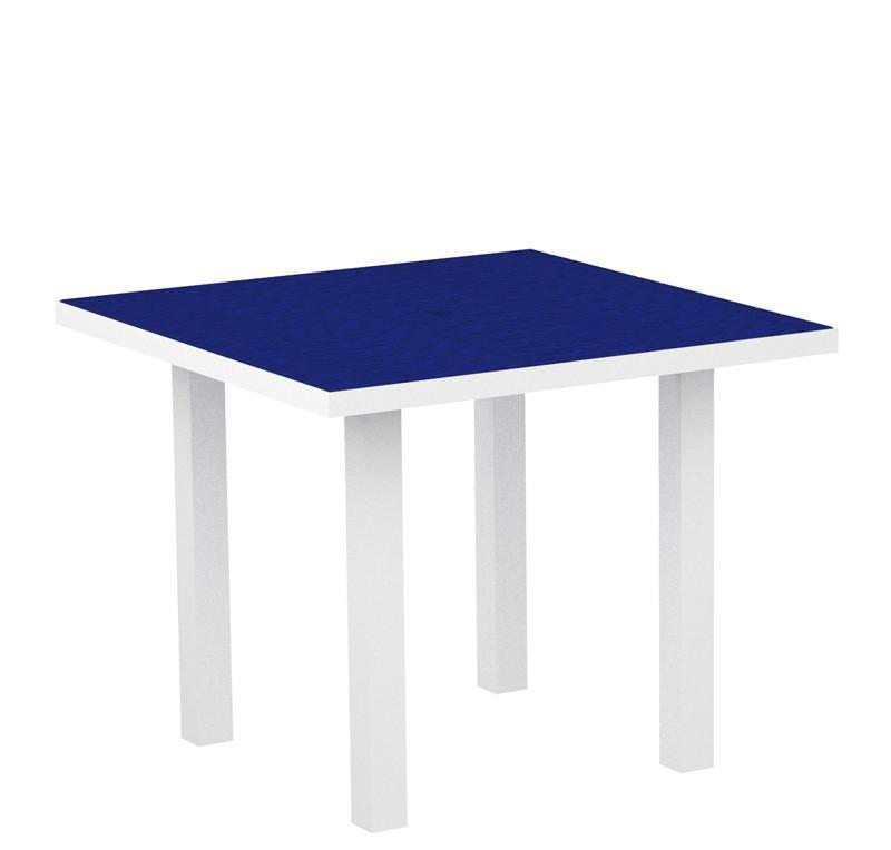 Square Dining Table Textured White Aluminum Frame Pacific 2943 Product Photo