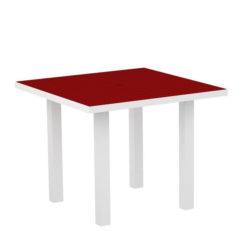 Polywood AT36-13SR Euro 36 Square Dining Table in Textured White Aluminum Frame / Sunset Red