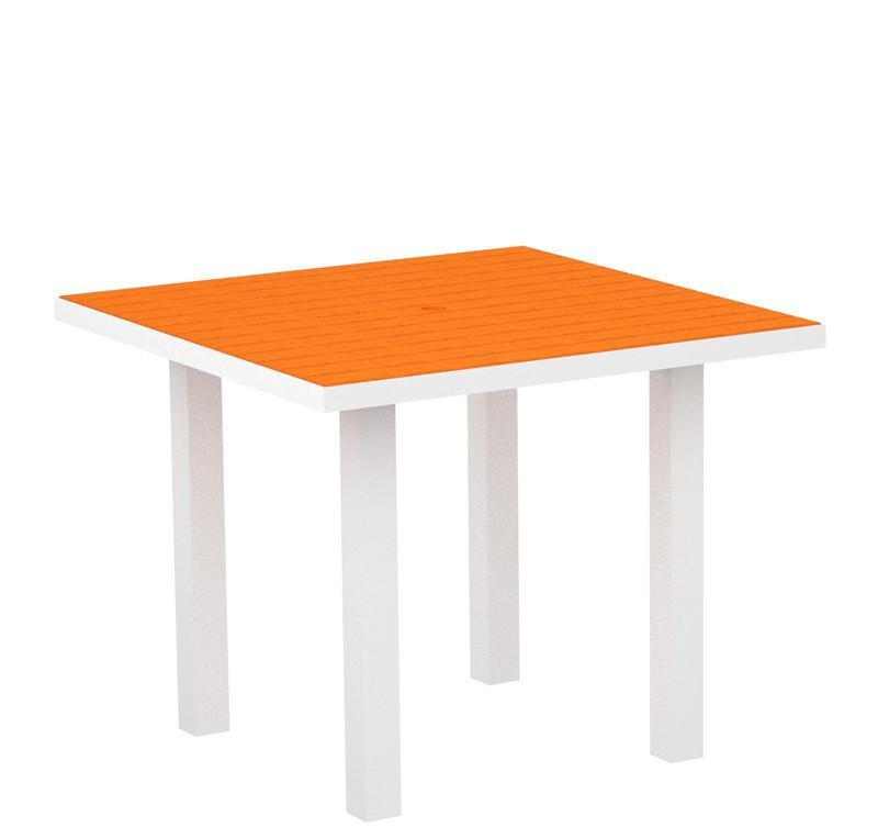 Polywood AT36-13TA Euro 36 Square Dining Table in Textured White Aluminum Frame / Tangerine