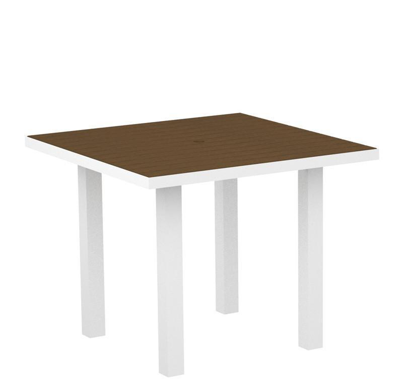 Polywood AT36-13TE Euro 36 Square Dining Table in Textured White Aluminum Frame / Teak