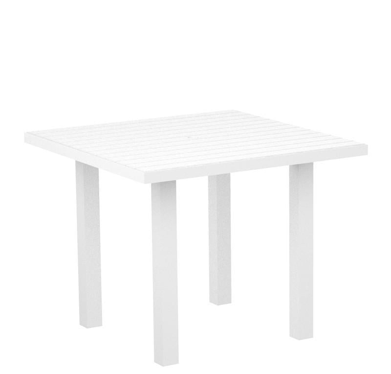 Polywood Square Dining Table Textured White Aluminum Frame White Euro