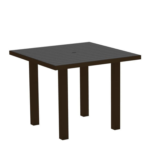 "Polywood AT36-16GY Euro 36"" Square Dining Table in Textured Bronze Aluminum Frame / Slate Grey - PolyFurnitureStore"