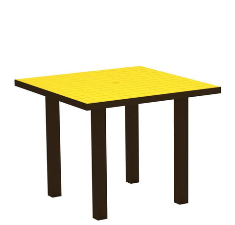 "Polywood AT36-16LE Euro 36"" Square Dining Table in Textured Bronze Aluminum Frame / Lemon - PolyFurnitureStore"