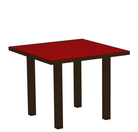 "Polywood AT36-16SR Euro 36"" Square Dining Table in Textured Bronze Aluminum Frame / Sunset Red - PolyFurnitureStore"