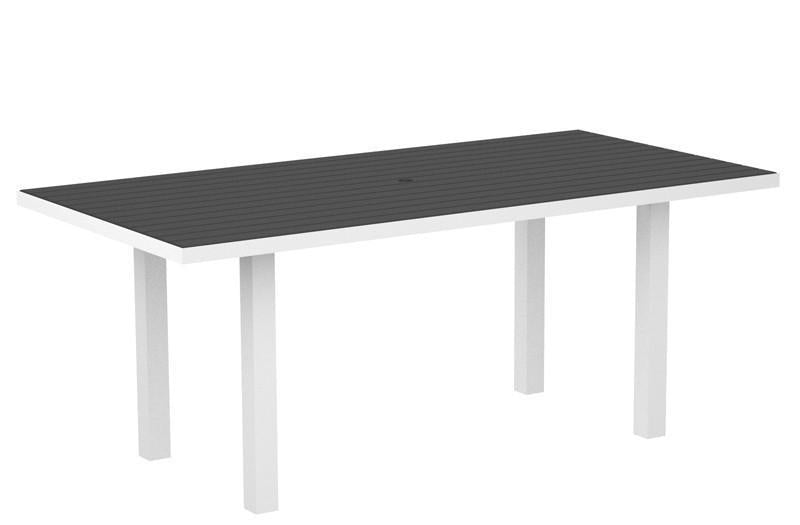 Dining Table Textured White Aluminum Frame Slate Grey Euro 1458 Product Photo