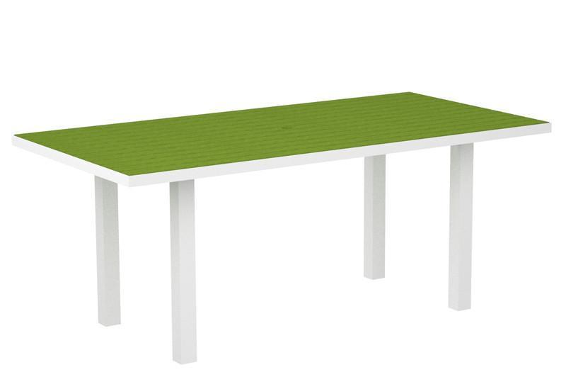 Dining Table Textured White Aluminum Frame Lime Euro 1455 Product Photo