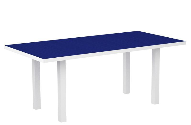 Dining Table Textured White Aluminum Frame Pacific Blue Euro 1458 Product Photo