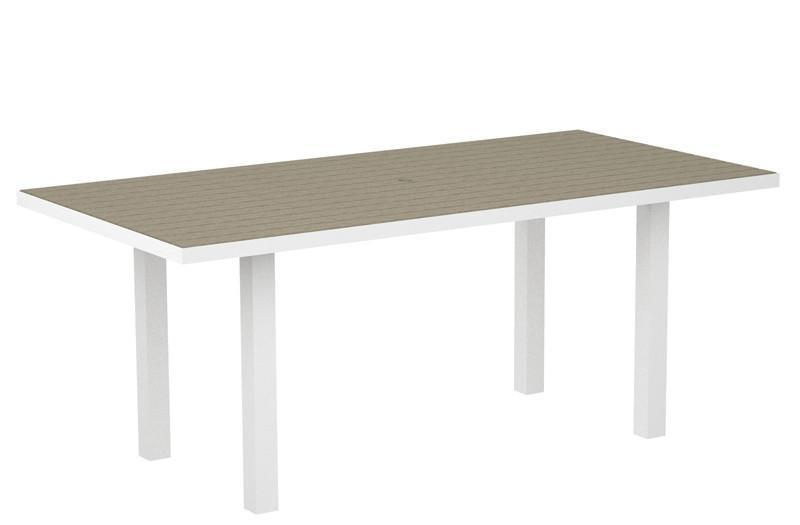 Dining Table Textured White Aluminum Frame Sand Euro 1458 Product Photo