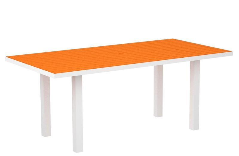 Dining Table Textured White Aluminum Frame Tangerine Euro 1462 Product Photo