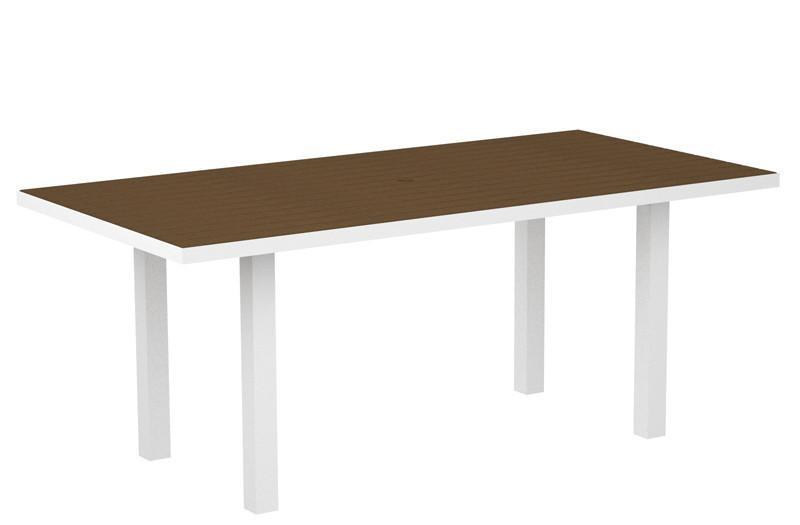 Dining Table Textured White Aluminum Frame Teak Euro 1462 Product Photo