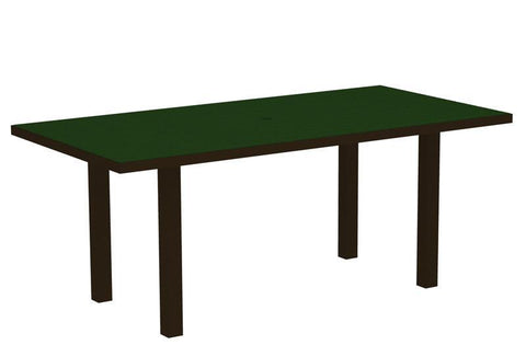 "Polywood AT3672-16GR Euro 36"" x 72"" Dining Table in Textured Bronze Aluminum Frame / Green - PolyFurnitureStore"