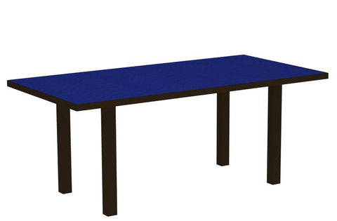 "Polywood AT3672-16PB Euro 36"" x 72"" Dining Table in Textured Bronze Aluminum Frame / Pacific Blue - PolyFurnitureStore"