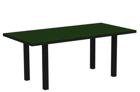 "Polywood AT3672FABGR Euro 36"" x 72"" Dining Table in Textured Black Aluminum Frame / Green - PolyFurnitureStore"
