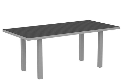 "Polywood AT3672FASGY Euro 36"" x 72"" Dining Table in Textured Silver Aluminum Frame / Slate Grey - PolyFurnitureStore"