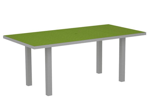 "Polywood AT3672FASLI Euro 36"" x 72"" Dining Table in Textured Silver Aluminum Frame / Lime - PolyFurnitureStore"