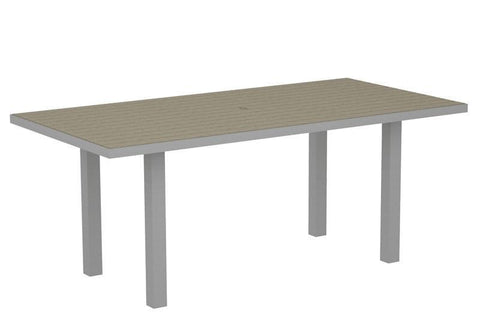 "Polywood AT3672FASSA Euro 36"" x 72"" Dining Table in Textured Silver Aluminum Frame / Sand - PolyFurnitureStore"