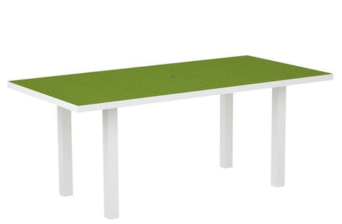 "Polywood AT3672FAWLI Euro 36"" x 72"" Dining Table in Gloss White Aluminum Frame / Lime - PolyFurnitureStore"