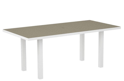 "Polywood AT3672FAWSA Euro 36"" x 72"" Dining Table in Gloss White Aluminum Frame / Sand - PolyFurnitureStore"