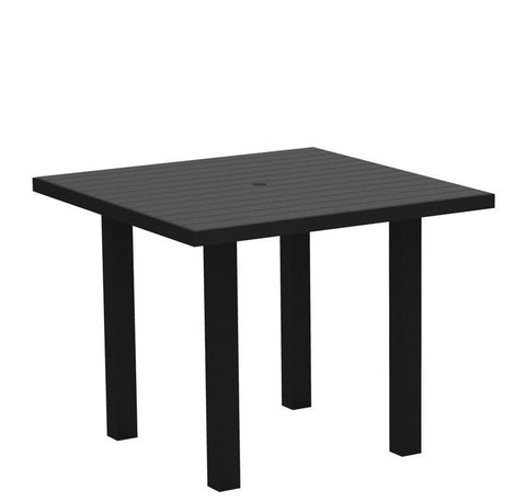 "Polywood AT36FABGY Euro 36"" Square Dining Table in Textured Black Aluminum Frame / Slate Grey - PolyFurnitureStore"