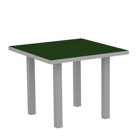 "Polywood AT36FASGR Euro 36"" Square Dining Table in Textured Silver Aluminum Frame / Green - PolyFurnitureStore"
