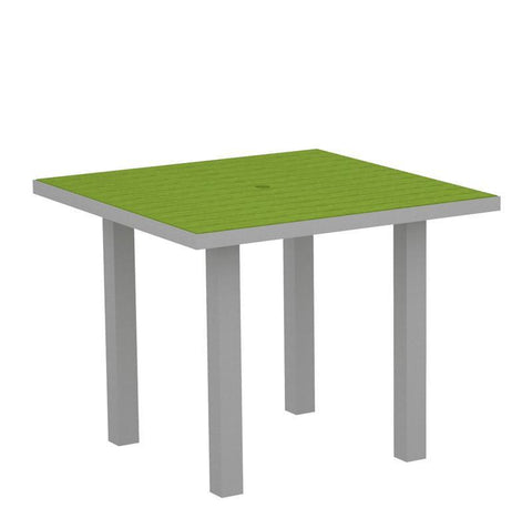 "Polywood AT36FASLI Euro 36"" Square Dining Table in Textured Silver Aluminum Frame / Lime - PolyFurnitureStore"