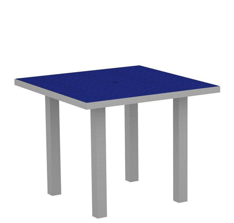 "Polywood AT36FASPB Euro 36"" Square Dining Table in Textured Silver Aluminum Frame / Pacific Blue - PolyFurnitureStore"