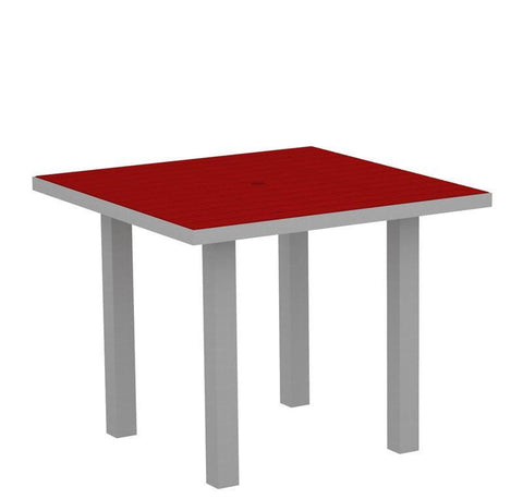 "Polywood AT36FASSR Euro 36"" Square Dining Table in Textured Silver Aluminum Frame / Sunset Red - PolyFurnitureStore"