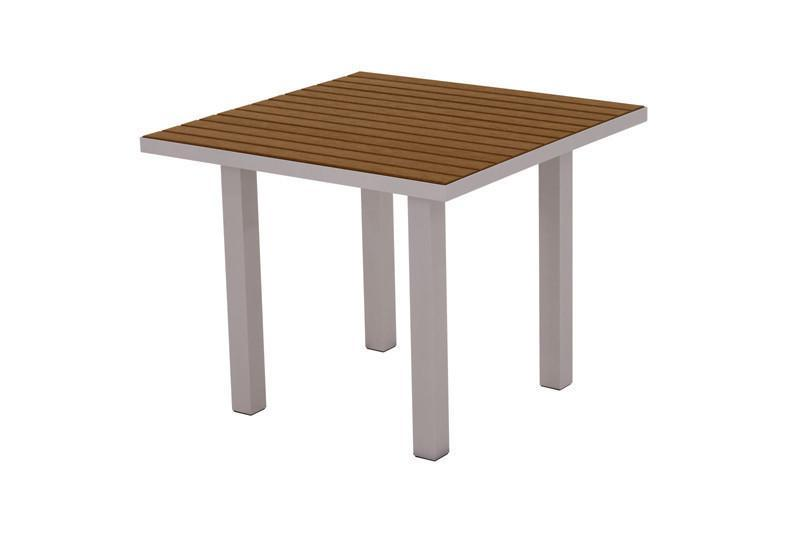 Square Dining Table Textured Silver Aluminum Frame Teak Euro 2936 Product Photo