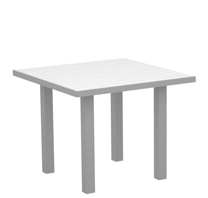 Square Dining Table Textured Silver Aluminum Frame White Euro 2936 Product Photo
