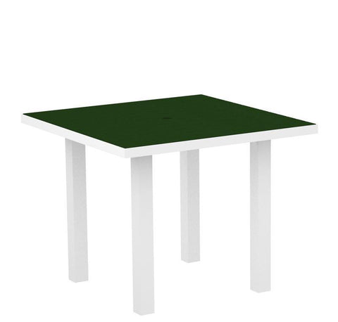 "Polywood AT36FAWGR Euro 36"" Square Dining Table in Gloss White Aluminum Frame / Green - PolyFurnitureStore"