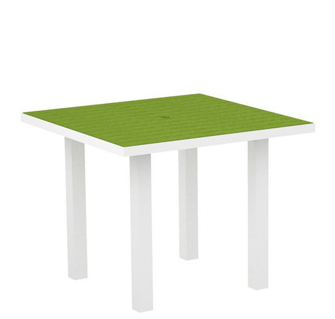 "Polywood AT36FAWLI Euro 36"" Square Dining Table in Gloss White Aluminum Frame / Lime - PolyFurnitureStore"