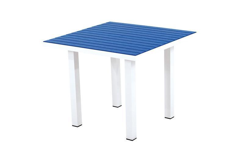 Square Dining Table Gloss White Aluminum Frame Pacific Blue Euro 2893 Product Photo
