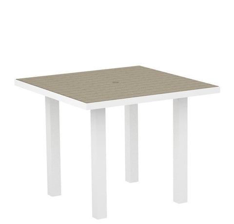 "Polywood AT36FAWSA Euro 36"" Square Dining Table in Gloss White Aluminum Frame / Sand - PolyFurnitureStore"