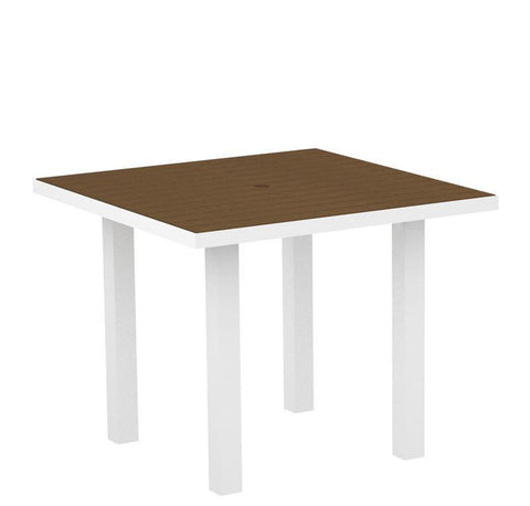 "Polywood AT36FAWTE Euro 36"" Square Dining Table in Gloss White Aluminum Frame / Teak - PolyFurnitureStore"