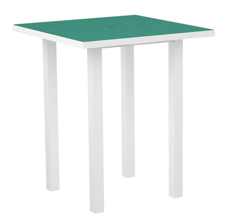 Square Bar Table Textured White Aluminum Frame Aruba 17015 Product Photo