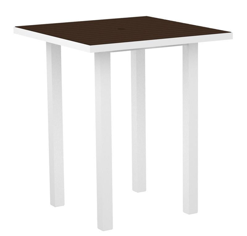 Square Bar Table Textured White Aluminum Frame Mahogany 17018 Product Photo